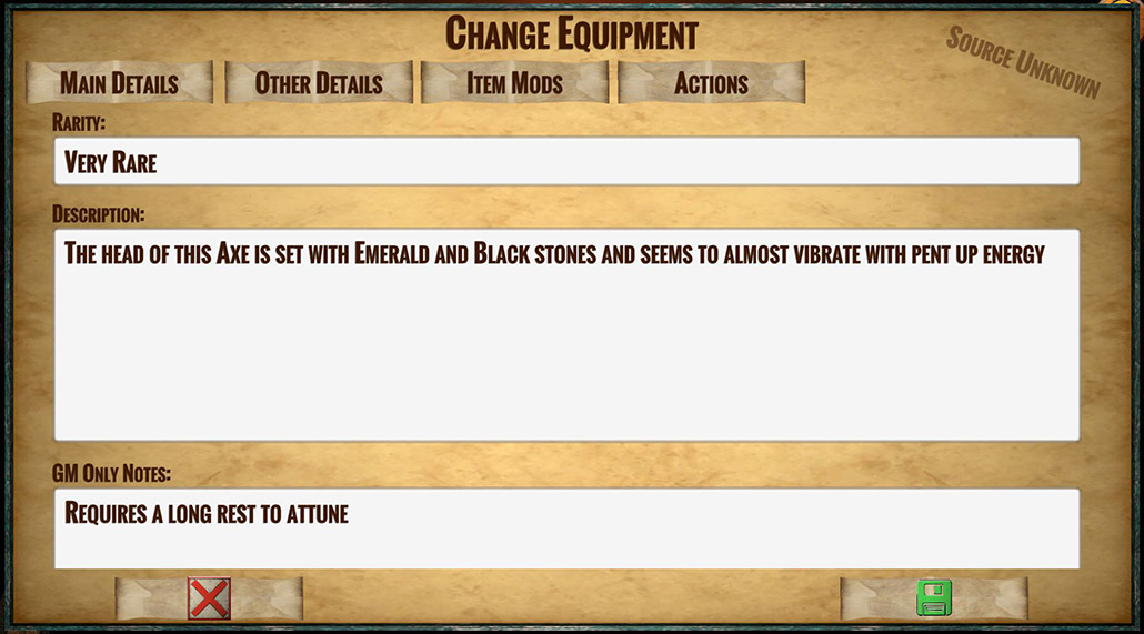 Set the details for your new equipment